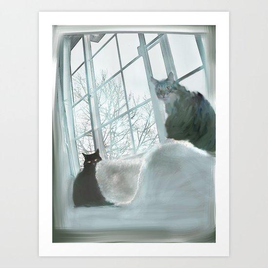 Windowsill Cats Art Print
