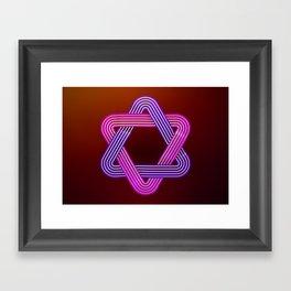 Neon star of david Framed Art Print