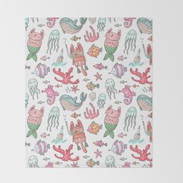 Hand painted pink teal nautical coral fish pattern Throw Blanket