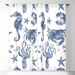 Delft Blue nautical Marine Life pattern, coastal beach Blackout Curtain