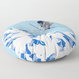 Airborn Skier Flying Down the Ski Slopes Floor Pillow