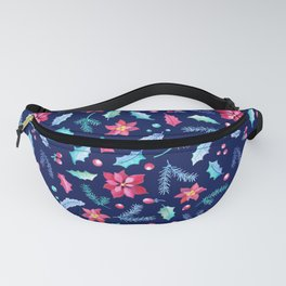 Christmas Poinsettia and Holly Jolly leaf. Festive Watercolor Pattern for Winter Holiday Fanny Pack