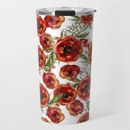 Poppy Pattern On White Background Travel Mug