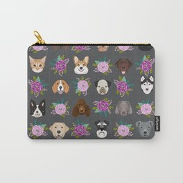 Dogs and cat breeds pet pattern cute faces corgi boston terrier husky airedale Carry-All Pouch