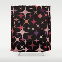 Shimmering Purple, Red, Pink and White Stars Shower Curtain