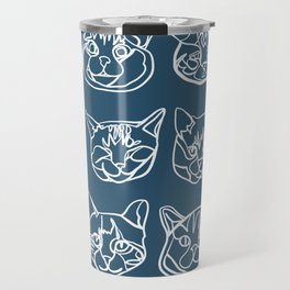 Blue and White Silly Kitty Faces Travel Mug