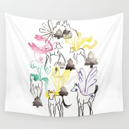Pegasus in the forest Wall Tapestry