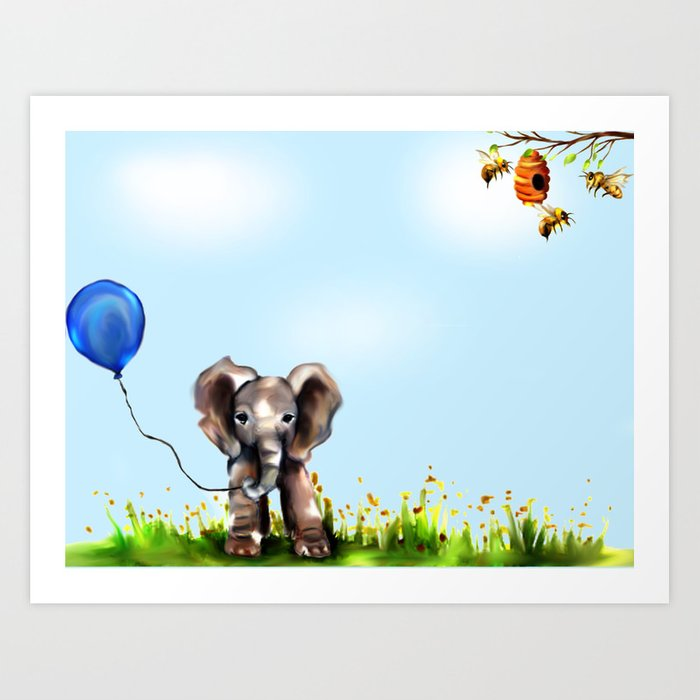 Balloon, Bee and Me Art Print