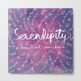 Purple Typography Quote Floral Botanical Illustration Artwork Metal Print