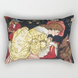 Beauty and the Beast ca. 1901 by Walter Crane. Rectangular Pillow
