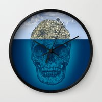 island Wall Clocks featuring Skull Island by Rachel Caldwell