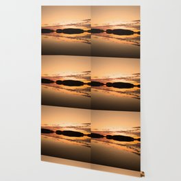 Beautiful sunset - glowing orange - forest silhouette and reflection Wallpaper
