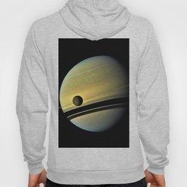 Saturn and its Moon Titan in Orbit Telescopic Photograph Hoody