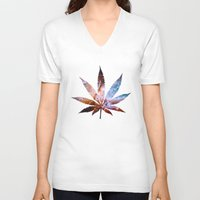 marijuana V-neck T-shirts featuring Marijuana Leaf - Design 2 by Spooky Dooky