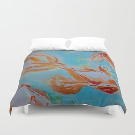 GoldFish Bubbles 1se watercolor by CheyAnne Sexton Duvet Cover
