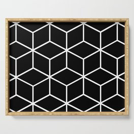 Black and White - Geometric Cube Design II Serving Tray