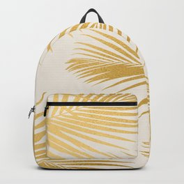 Metallic Gold Tropical Palm Fronds Backpack