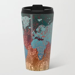 world map mandala vintage Travel Mug
