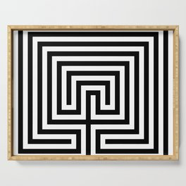 Cretan labyrinth in black and white Serving Tray
