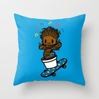 groot Throw Pillows featuring groot groot groot.... by Ziqi