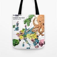 political Tote Bags featuring Vintage Political Cartoon Map of Europe (1877)  by BravuraMedia