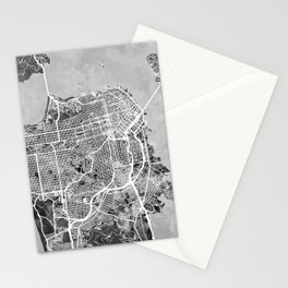 San Francisco City Street Map Stationery Cards