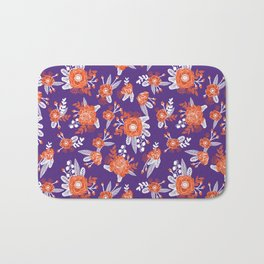 University football fan alumni clemson orange and purple floral flowers gifts Bath Mat