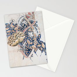 Design for Windrush by William Morris 1883 // Romanticism Blue Red Yellow Color Filled Floral Design Stationery Cards