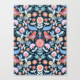 Happy Folk Summer Floral on Navy Canvas Print