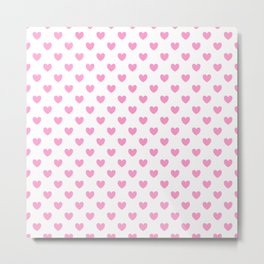 Pink Hearts on White Metal Print