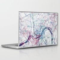 cincinnati Laptop & iPad Skins featuring Cincinnati map by MapMapMaps.Watercolors