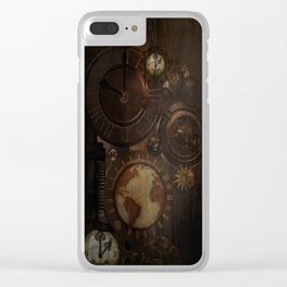 Brown steampunk clocks and gears Clear iPhone Case