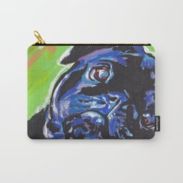 Black Pug Dog Portrait bright colorful Pop Art Painting by LEA Carry-All Pouch