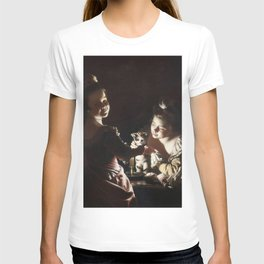 Joseph Wright of Derby - Two Girls Dressing a Kitten by Candlelight T-shirt