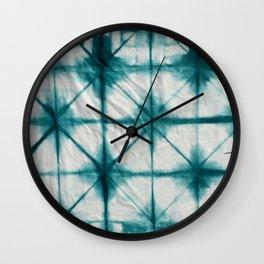 Teal Shibori Triangles Wall Clock