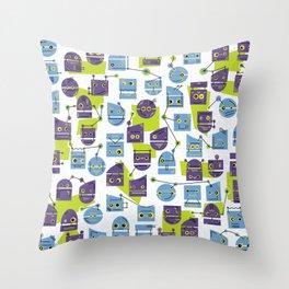Robots Doodle Throw Pillow