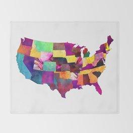 USA map art 1 #usa #map Throw Blanket