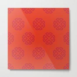 Celtic Endless Knot Flaming Scarlet and Orange Metal Print