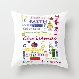 Christmas Message Throw Pillow