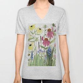 Flowers on White Painting Unisex V-Neck