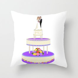 A Wedding Cake with Roses in Primary Colors Throw Pillow