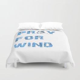 Kiteboarding Humor Kneeling Skeleton Praying For Wind Duvet Cover