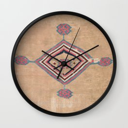 Blush Tan and Pink Medallion // 19th Century Authentic Colorful Baby Blue Cowboy Accent Pattern Wall Clock