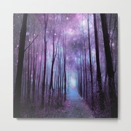 Fantasy Forest Path Muted Violet Metal Print