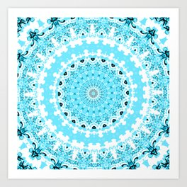 Pretty Blue and White Mandala Art Print