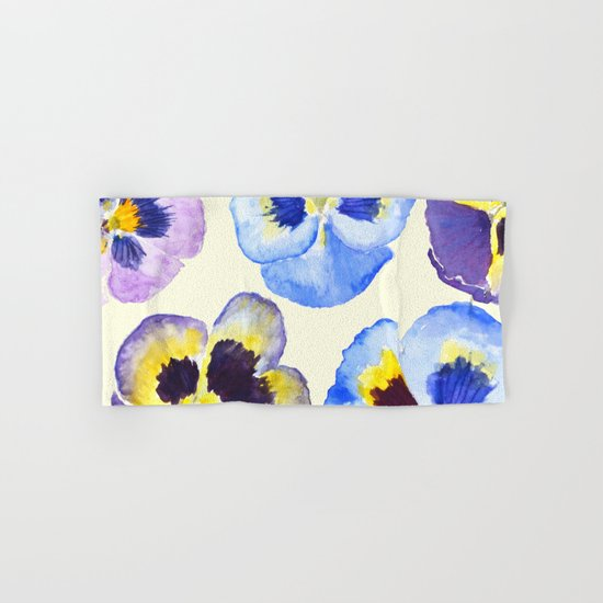 pansies pattern watercolor painting Hand & Bath Towel