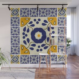 Talavera Mexican tile inspired bold design in blue and yellow Wall Mural