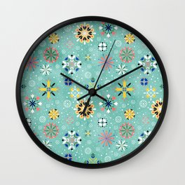 Christmas snowflakes pattern Wall Clock