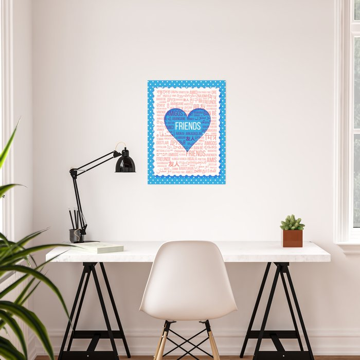 """The word """"Friends"""" in different languages of the world in the heart Poster"""