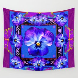 Purple Pansy & Butterflies Melody Abstract Wall Tapestry